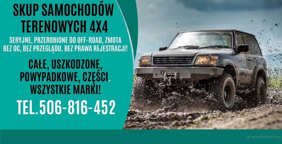 Skup samochodów TERENOWYCH 4X4! Patrol, Vitara, SAMURAI, Pajero, Terrano... itp...